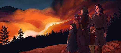 Sagan om isfolket, tecknad av Elin J